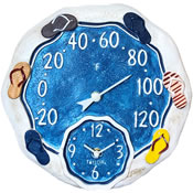 Large Outdoor Clock And Thermometers