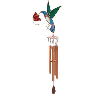 Gift Essentials Stained Glass Hummingbird with Red Flower Wind Chime