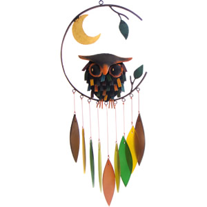 Gift Essentials Glass Spiky Owl w/Moon Wind Chime
