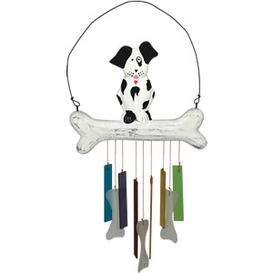 Gift Essentials Wood & Glass Dog Wind Chime