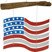 Gift Essentials Glass US Flag Red White & Blue Wind Chime