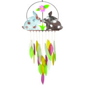 Gift Essentials Glass Spring Bunnies Wind Chime