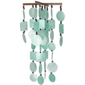 Woodstock Aqua Capiz Chime w/ Wood Beads