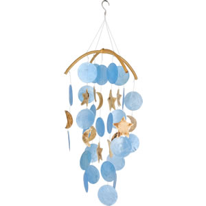 Woodstock Dark Blue Capiz Chime with Moon / Star